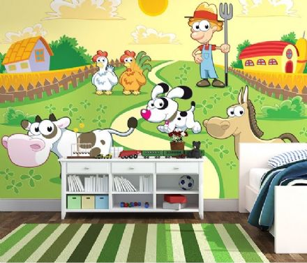 Wall mural wallpaper Animals farm for nursery
